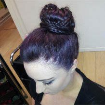 Girl with short dark purple hair
