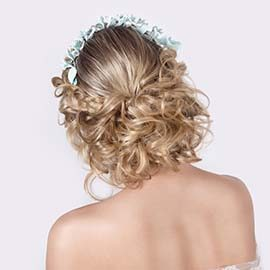 Curly blond wedding hair